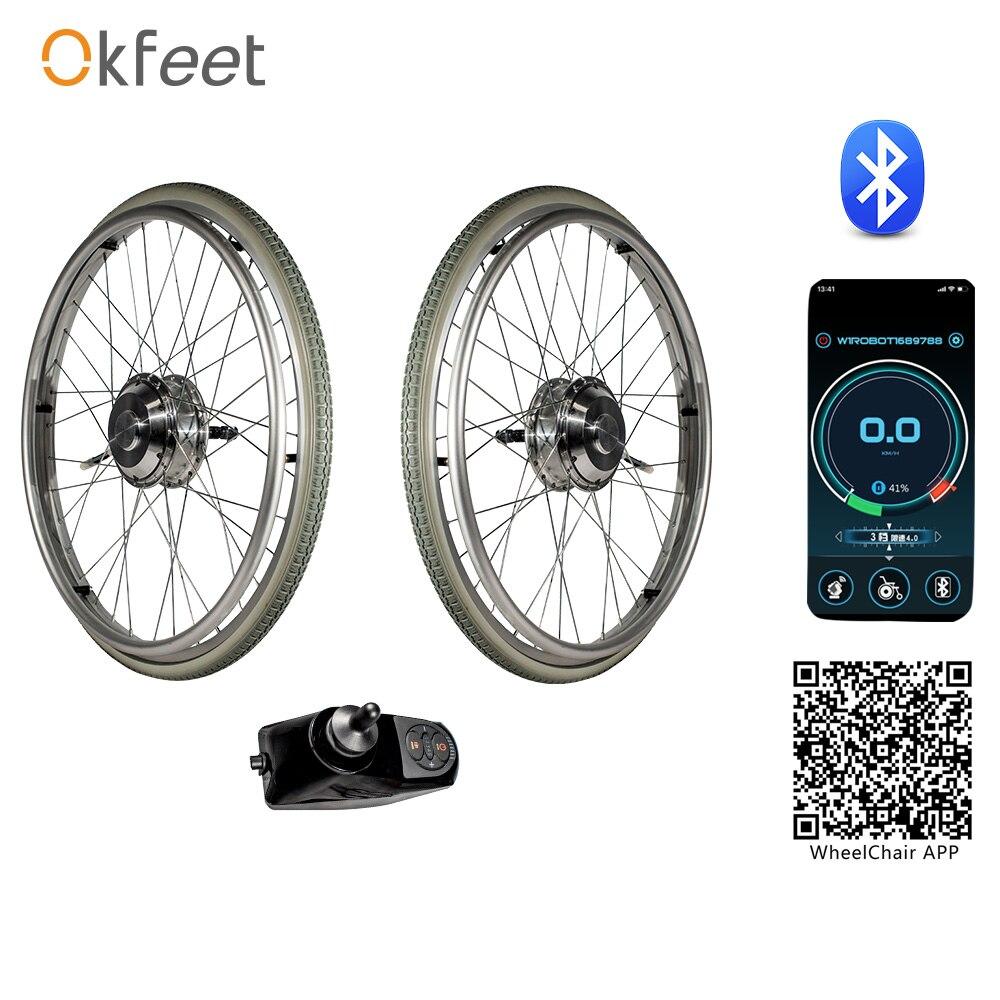 okfeet Electric Wheelchair Conversion Kit No Battery 24V 250W 6km h Double motors wheel chair modification