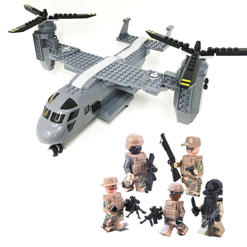 Military MV-22 Transport Plane Models Bricks Soldiers Figures with weapons Toy For Children  Airplane Building Blocks LegoINGly solar military transport plane baron p320 jigsaw puzzle building blocks environmental diy toy