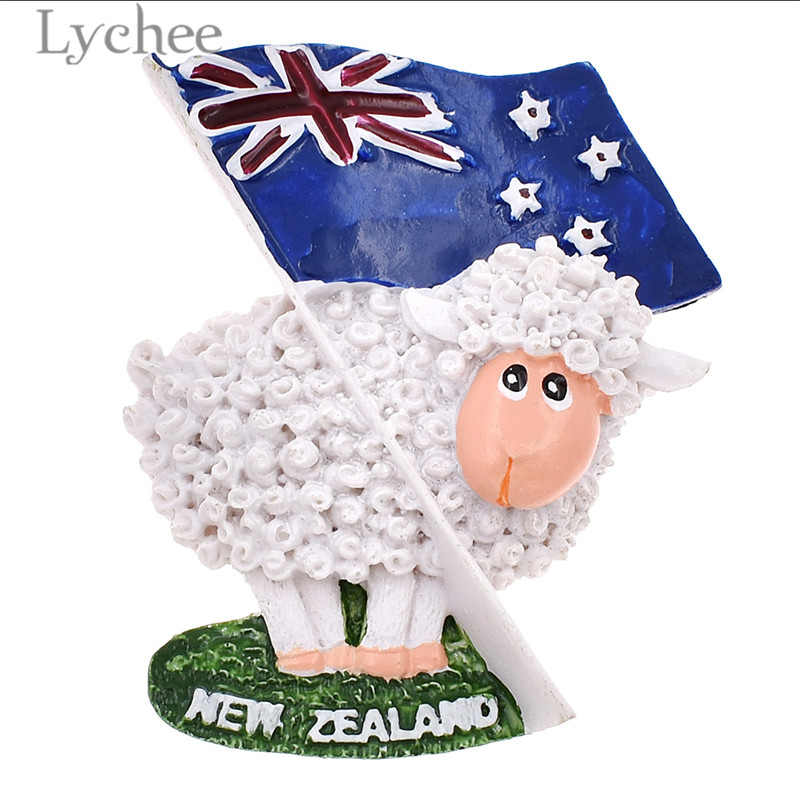 Lychee <font><b>New</b></font> <font><b>Zealand</b></font> Flag Sheep Resin <font><b>Fridge</b></font> <font><b>Magnets</b></font> Creative 3D Refrigerator <font><b>Magnet</b></font> Stickers Travel <font><b>Souvenirs</b></font> Home Decoration image