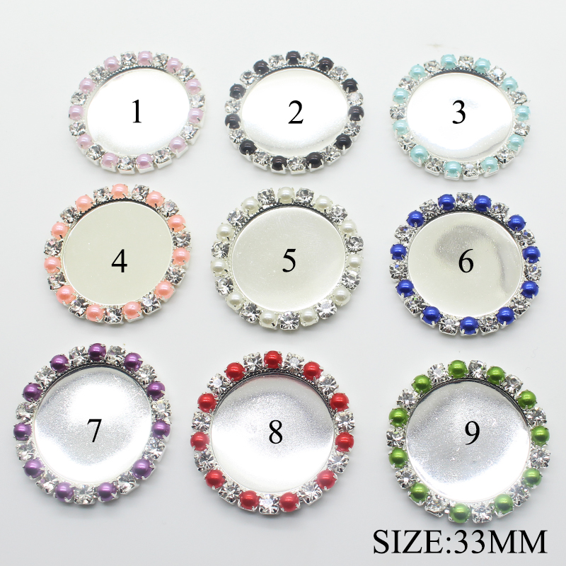 HOT 100pcs lot 33MM Round Pearl Brass Crystal Metal Rhinestone Button for Clothes DIY Kids Hair