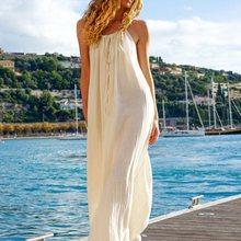 Beach Sexy Backless Long Dress Elegant Women Beige Cotton Loose Big Size Sundress Pleated Holiday Boho Summer Strap Maxi Dresses