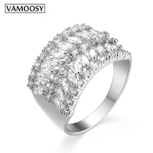 VAMOOSY 2018 Top quality Luxury Wide rings for Women men Rings 100% CZ Zircon crystal women lovers wedding