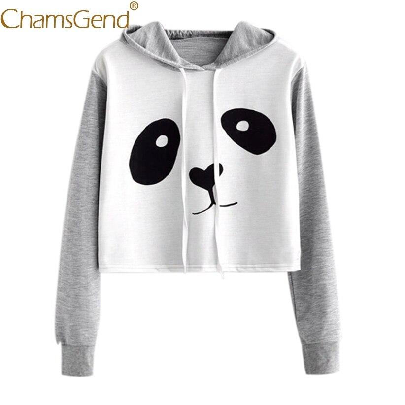 Chamsgend Hoodies Cute Panda Sweatshirt Crop Top Women Hoodies Sweatshirts Long Sleeve womens hoodies pullover 71207