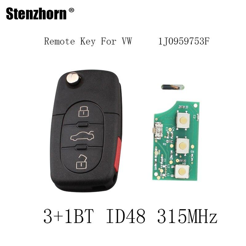Stenzhorn 4 Botones Keyless remoto Llaves para coches FOB para VW Volkswagen Beetle Golf 1988 1999 2000 2001 1j0959753f llave id48 chip 315 MHz