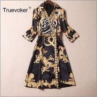 Truevoker 2018 Summer Designer Dress Women Turn Down Collar 3 4 Sleeve Royal Baroque Printed Vintage
