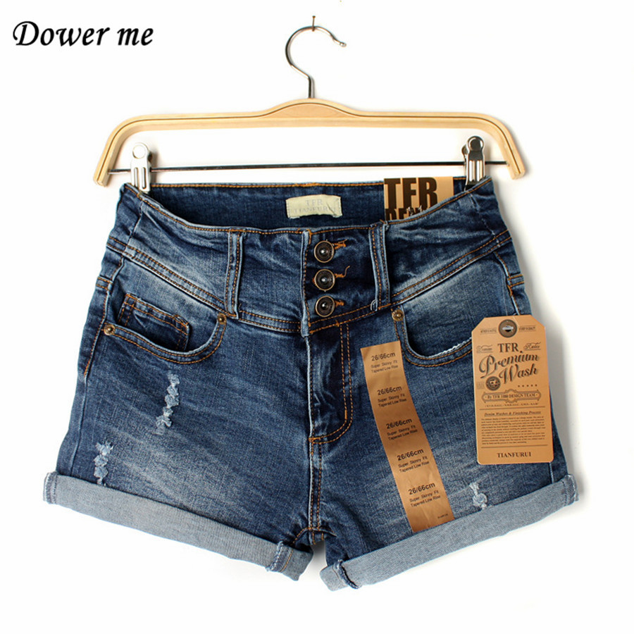 2017 Summer High-Waist  Women Pencil Jeans Shorts Casual Simple Deep Bule Ladies Denim Shorts YN779