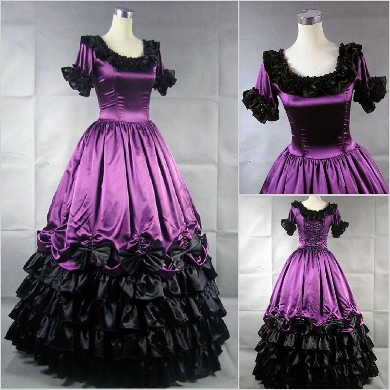 Брендовое Новое винтажное фиолетовое хлопковое бальное платье с короткими рукавами, викторианское бальное платье с оборками, маскарадное платье