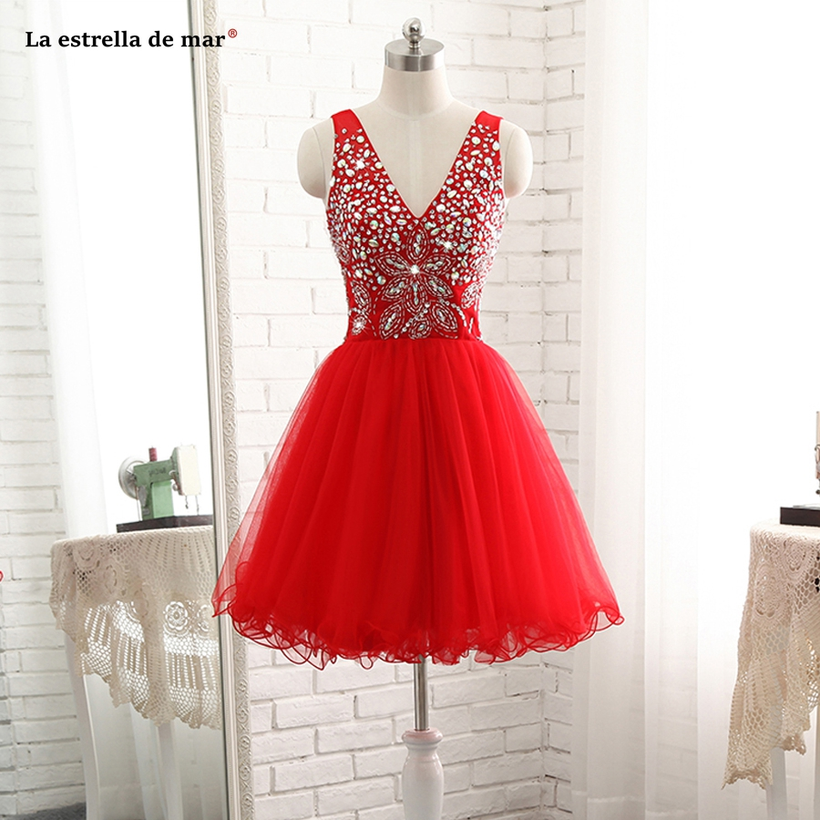 La estrella de mar vestido   cocktail   2019 new sexy V-neck chiffon crystal halter A Line red   cocktail     dresses   short plus size