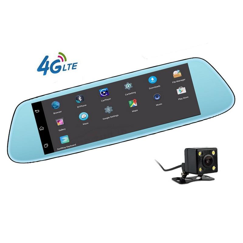 4G miroir GPS Bluetooth WIFI double lentille Android 5.1 plus récent FHD 1080 p enregistreur vidéo Dash Cam tactile IPS voiture DVR caméra 8 pouces