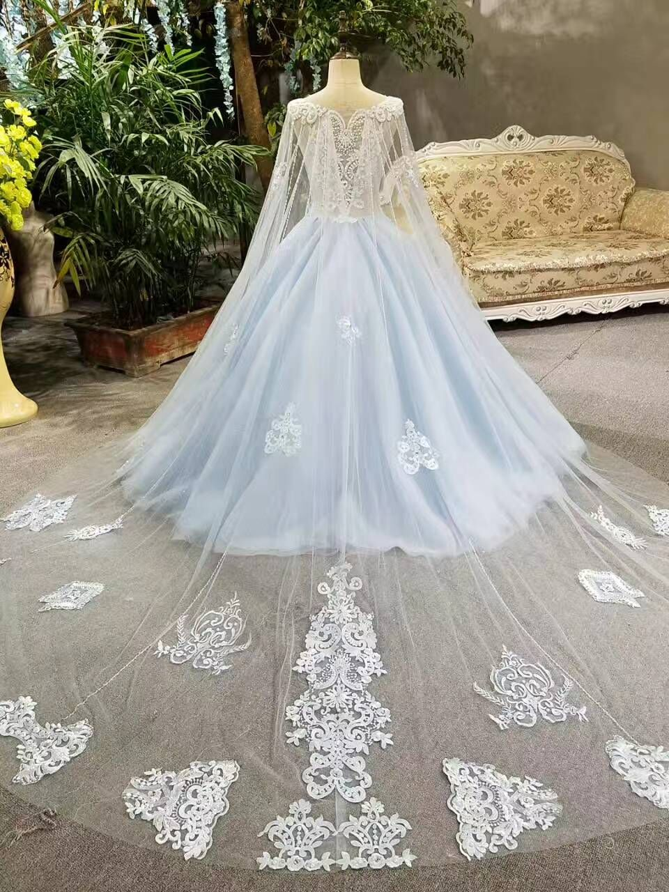 2017 Real Photos Blue Ball Gown Wedding Dress Long Train Luxury Lace ...