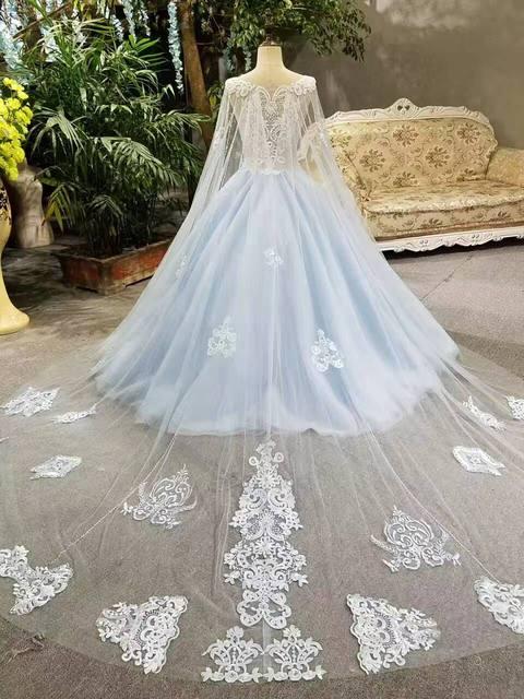 Online Shop 2017 Real Photos Blue Ball Gown Wedding Dress Long Train ...
