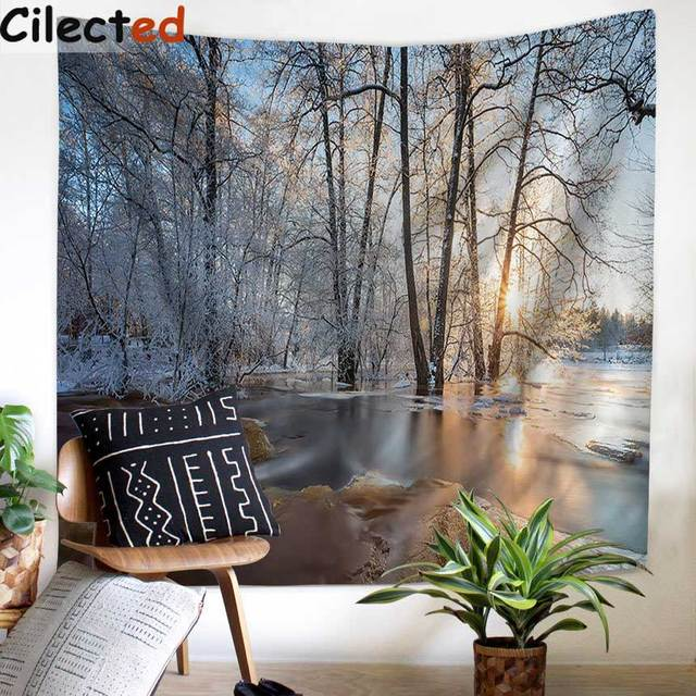 Cilected Snow Landscape Printing Wall Tapestry For Bedroom Polyester Fabric  Wall Hanging Decoration Camping Mat Yoga