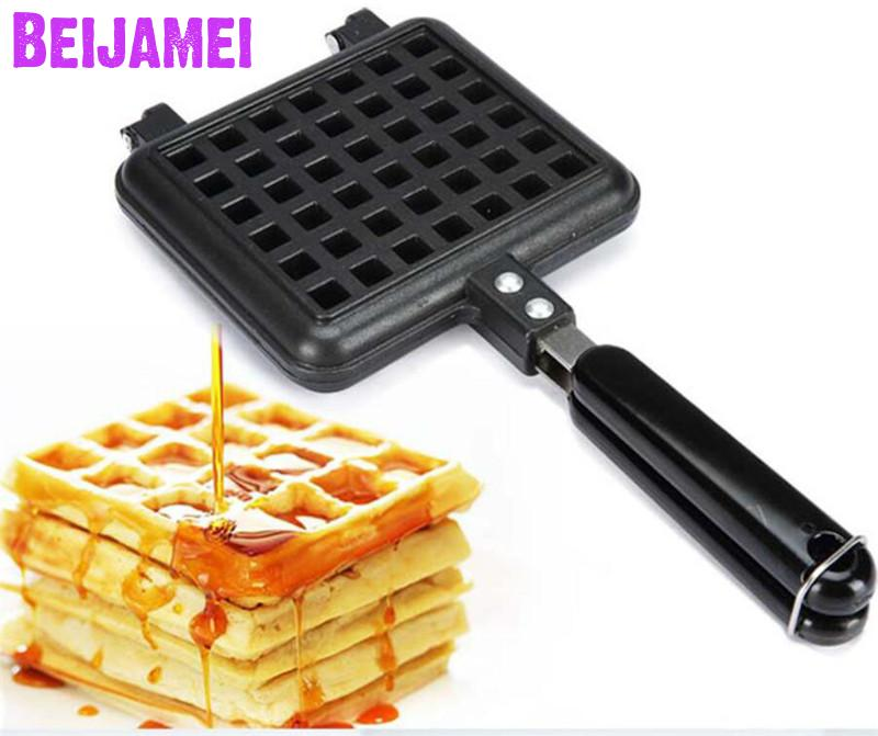 BEIJAMEI High quality Mini Square Waffle Pan Maker Mold Home Cooking Appliances Egg Waffle Pan Pancake Baking ToolsBEIJAMEI High quality Mini Square Waffle Pan Maker Mold Home Cooking Appliances Egg Waffle Pan Pancake Baking Tools