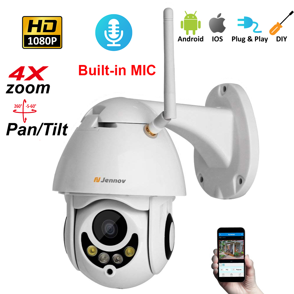 1080P 2MP PTZ IP Camera Home Security Wireless Wifi 4X Zoom 2.8mm 12mm Audio Camera HD Vision Outdoor ipCam Video Surveillance