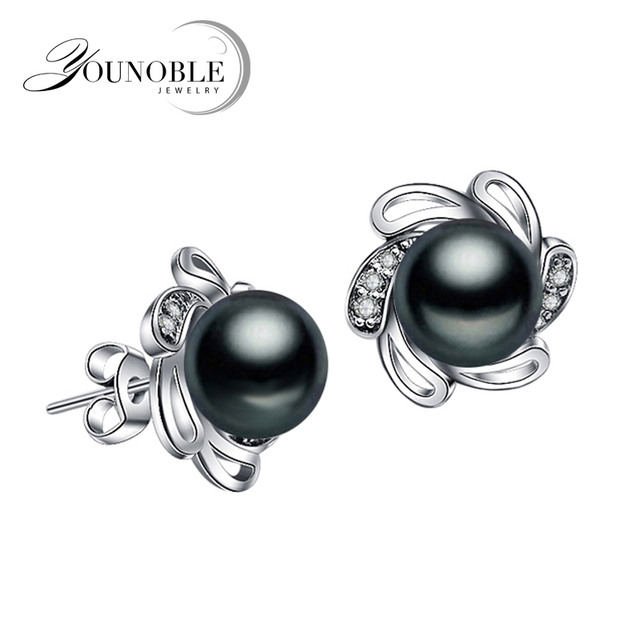 Genuine natural freshwater pearl earrings for women,trendy bridal party gift 925