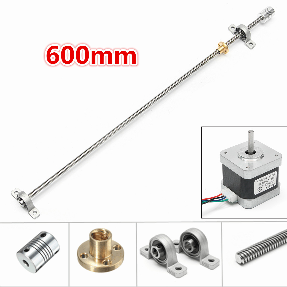 600mm T8 Lead screw + 8mm Screw nut + KFL08 Mounted ball bearing + Shaft coupling + Motor Set for 3D Printer Parts NEW t8 1000mm stainless steel lead screw with screw nut kfl08 mounted ball bearing shaft coupling motor set 3d printer accessories