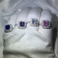 4 Colors Birthstone Ring Engagement Wedding Band Rings For Women AAAAA Zircon Cz White Gold Filled