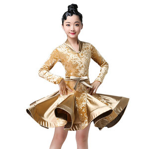 Image 3 - Autumn Winter latin dresses for dance ballroom dance dress rumba samba velvet children samba cha cha tango skirt standard salsa