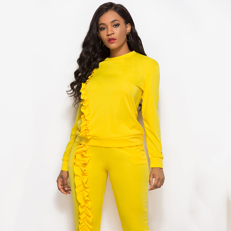 2019 Autumn New Solid Two Piece Sets Women Long Sleeve Round Neck Tops Trousers Ruffles Tracksuit Set 2 Piece Sets Ladies Suits 43