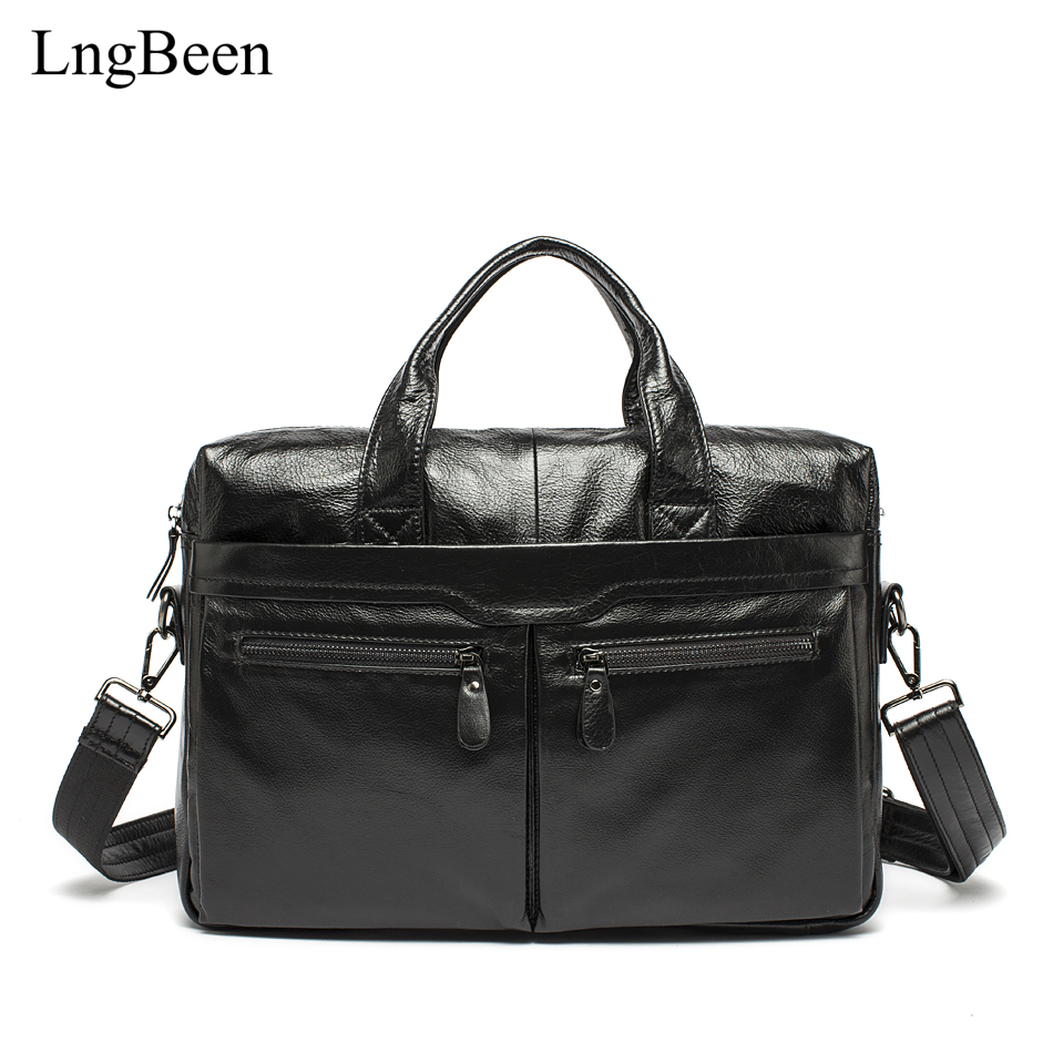 Lngbeen NEW Genuine Leather Coffee Men Briefcase Laptop Business Bag Cowhide Men's Messenger Bags Luxury Lawyer Handbags LB9005 2017 fashion genuine leather men briefcase cowhide men s messenger bags 15 6 laptop business bag luxury lawyer handbags li 1832