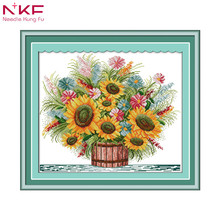 sunflower restaurant decor painting counted print on canvas DMC 11CT 14CT chinese Cross Stitch kits embroidery needlework Sets
