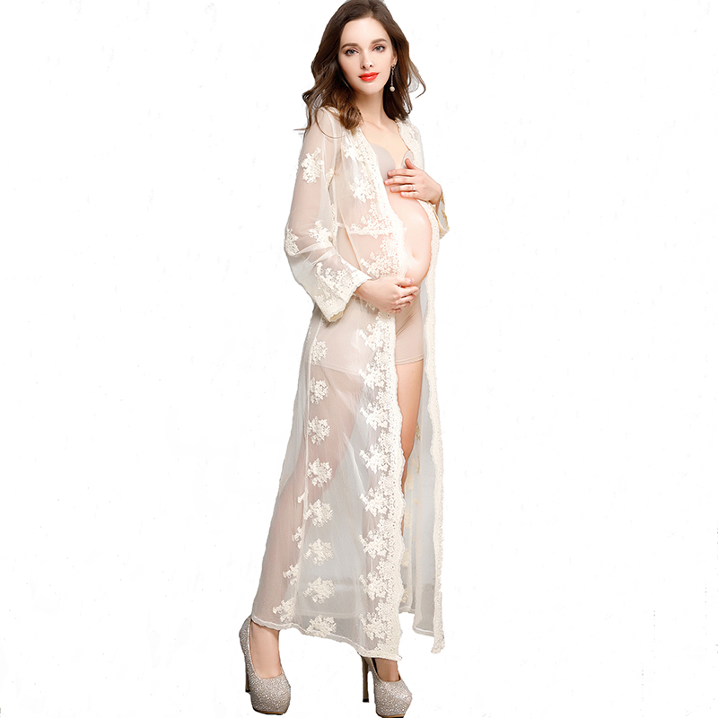 Long Sleeve Lace Maternity Photography Props Deep V Cardigan Fashion Exquisite Embroidery Palace Shooting Dress Pregnancy Maxi