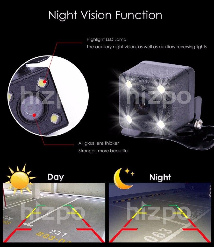 Envío gratuito CMOS coche vista trasera reversa cámara de visión trasera aparcamiento visión nocturna impermeable 7 LED con cables de seis metros