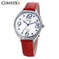 COMTEX Watch Women Wristwatch Casual Fashion Female Crystal White Leather Watchs Luxury Brand Quartz Watch Bracelet