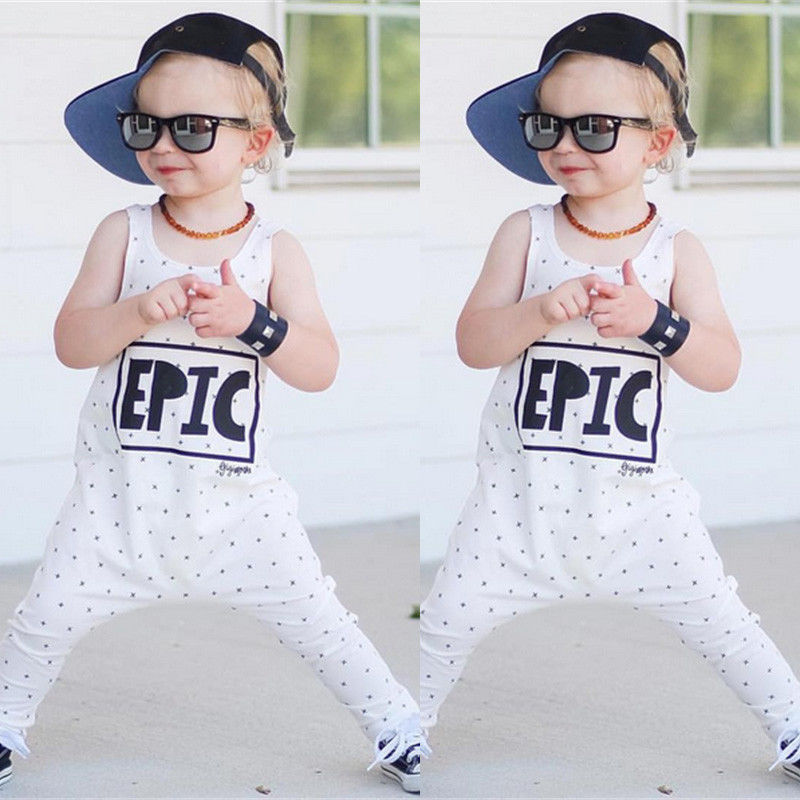 Autumn Cute White Newborn Baby Clothes EPIC Cross Print One Pieces Baby Romper Infant Boys Sleeveless Jumpsuits Clothing 0-24M one-piece garment