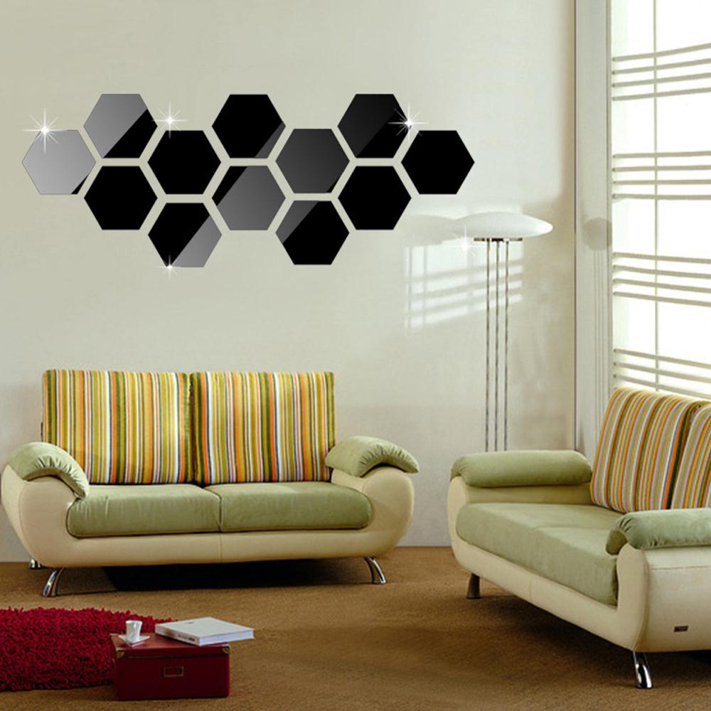 12 Pieces Hexagonal Wall Decoration Acrylic Mirror Sticker Stiker Switch Lampu Kucing Gantung Aeproductgetsubject