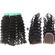 Indian Deep Wave Hair Weave With Lace Closure 3 bundles Unprocessed Curly Virgin Human Hair bundles with Closure Swiss Lace 4*4