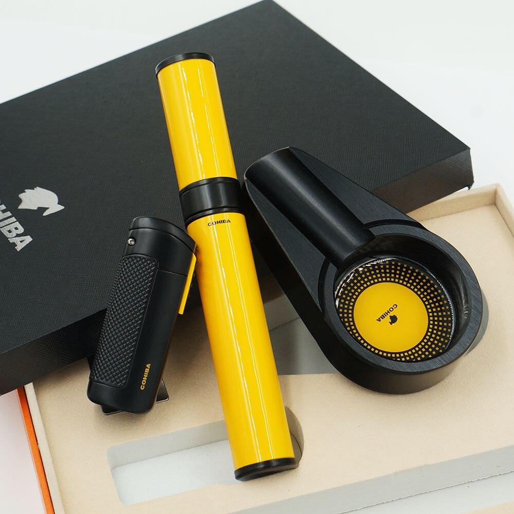 COHIBA черная сигарная Зажигалка пепельница желтая гидратирующая трубка подарочный набор для путешествий