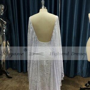 Image 3 - Mryarce nowe unikalne francuskie koronkowe suknie ślubne w stylu boho bez pleców przednia szczelina boho chic suknie ślubne z peleryną
