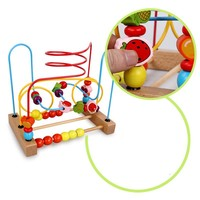 Chilrden Counting Fruit Bead Wire Maze Roller Coaster Wooden Early Educational Toy RZ