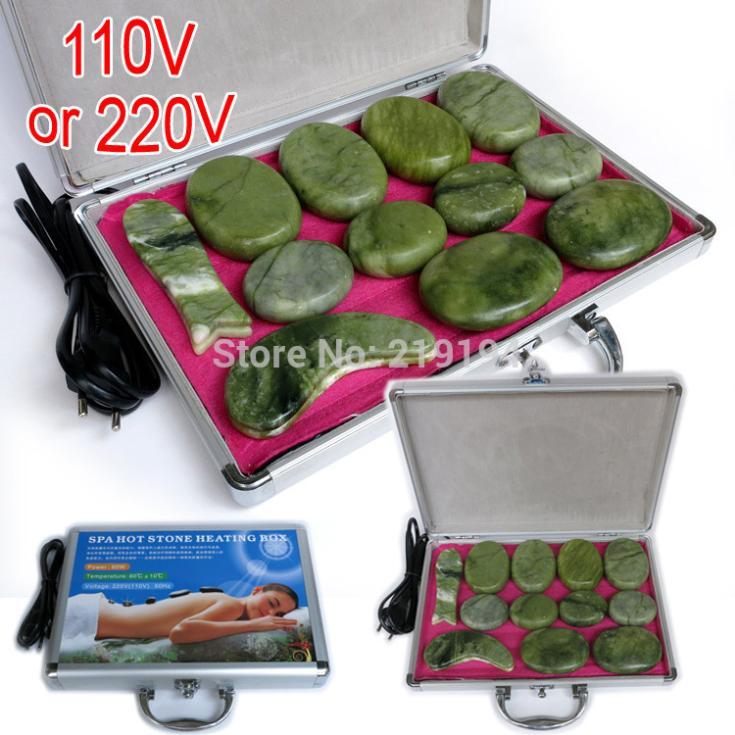 14pcs set jade body massage hot stone face back massage plate SPA with heater box