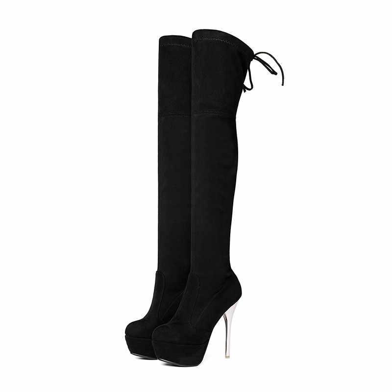 Asumer moda aurumn kış kadın çizmeler siyah kırmızı gri bayanlar çizmeler platformu çapraz bağlı süper yüksek diz çizmeler üzerinde