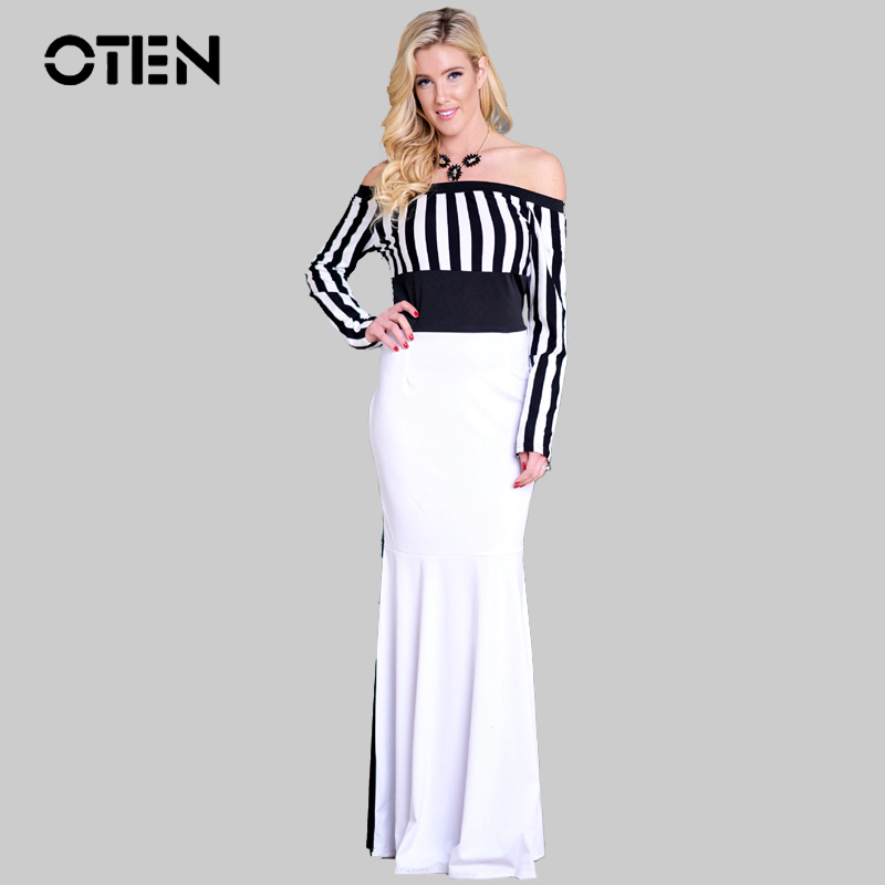 OTEN 2018 Elegant High waisted Vintage Dress Stripe Black White Colorblock Sexy Off shoulder Party wear Long Maxi Dress vestidos