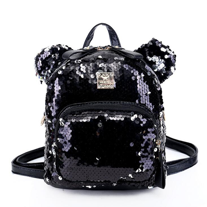 Women PU Leather Sequins Backpack Girls Small Travel Princess Bling Backpacks Cute Big Mickey Ears Double Shoulder Bag 2017 small fresh mini shoulder bag with three pairs of ears can replace the small backpack cute modeling trend backpack y088