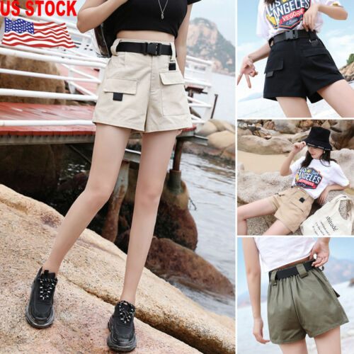 Women's Summer Overalls Shorts Loose Breathable Cargo High Waist Pocket Cotton Shorts Summer Hot Shorts