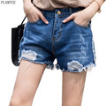 BF Style Summer Straight Denim Shorts Female 2 Colors Casual Ripped Hole Jeans Short Feminino S~2XL Loose Women's Booty Shorts