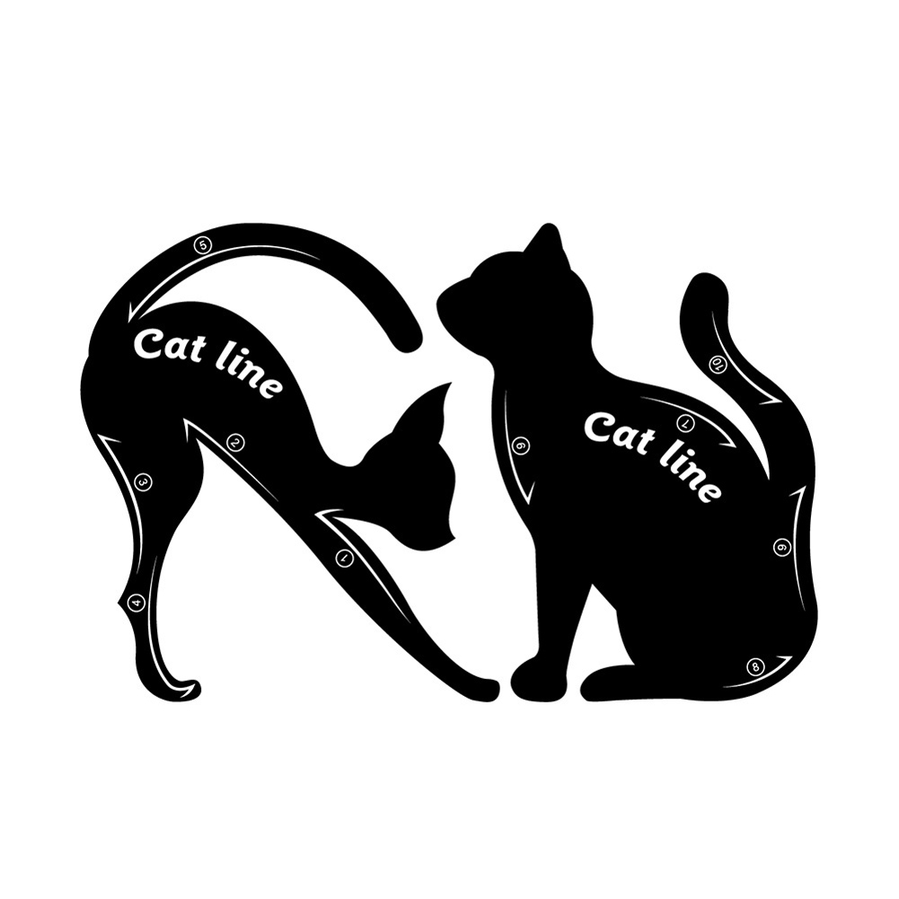 2 Pcs Cat Fish Tail Double Wing Eyeliner Stencils Eyeliner Stencil