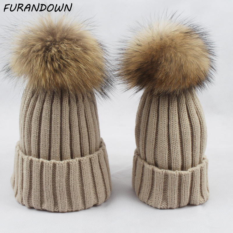 Twinning Style Parent-child Winter Beanie Topi Bayi Kanak-kanak Real Raccoon Fur Hat Kids Pompom Skullies Caps