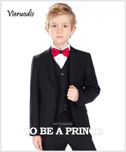 New Black Kids Boys Formal Wedding Suits (Jacket+ Pants+ Vest ) Party Tuxedos