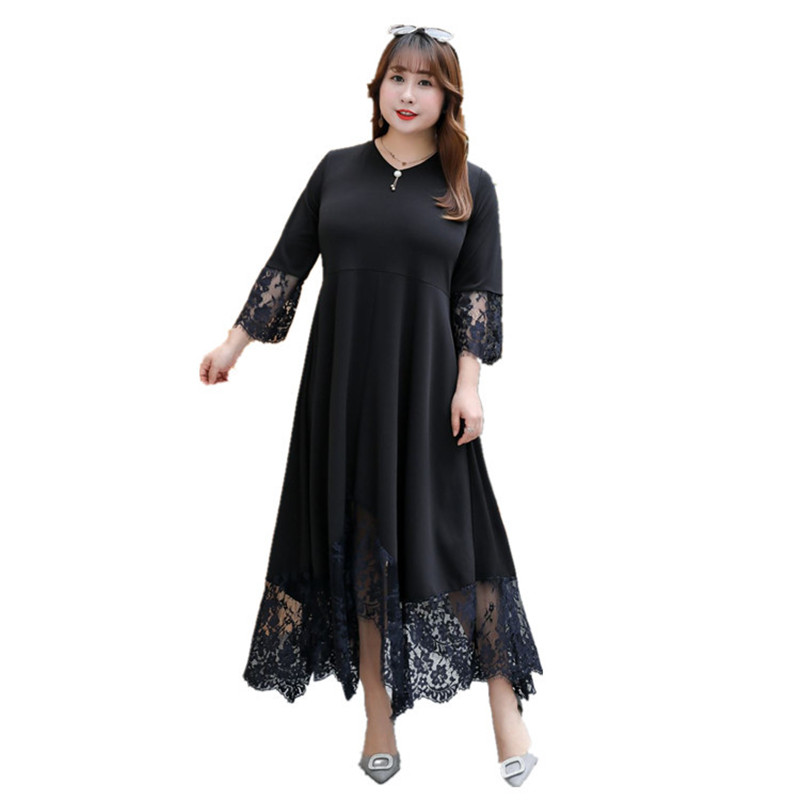 Summer Dress OL 2019 Plus Size 5XL <font><b>6XL</b></font> <font><b>7XL</b></font> 8XL <font><b>9XL</b></font> Lace Black Women Long Elegant Ladies Woman Sleeve Big Office Vintage Dresses image