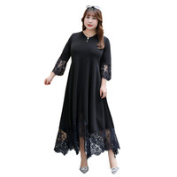 Summer Dress OL 2019 Plus Size 5XL 6XL 7XL 8XL 9XL Lace Black Women Long Elegant Ladies Woman Sleeve Big Office Vintage Dresses