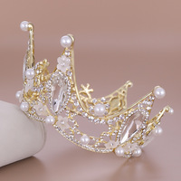 2019 New Arrival Round Bridal Crown Luxury Crystal Pearls Flower Wedding Crown Tiara Fashion Bride Hair Accessories Headpieces