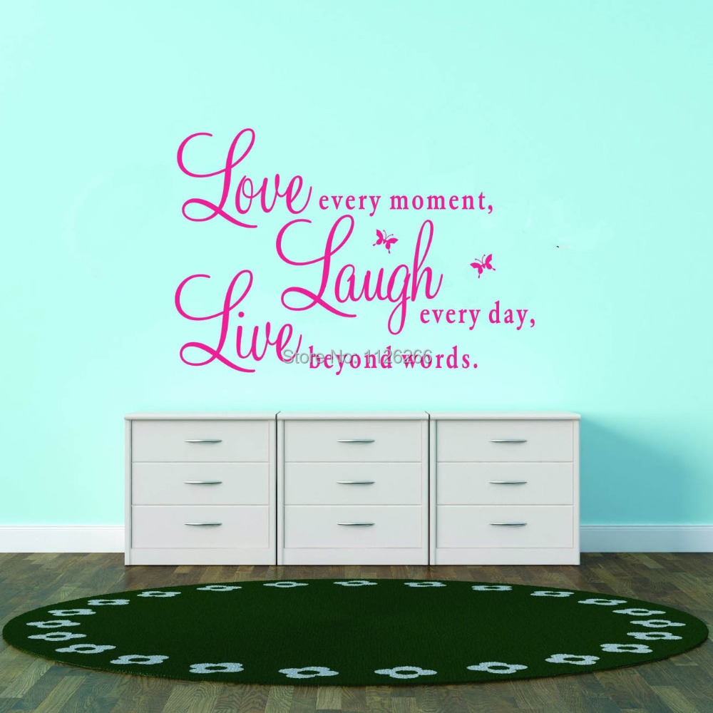 words wall stickers picture more detailed picture about inspirational quotes love every moment laugh every day live beyond words wall stickers for living room
