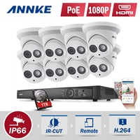 ANNKE 1TB HDD PoE 1080P IP Cameras 8CH 6MP NVR ROI Security System Home Video IR