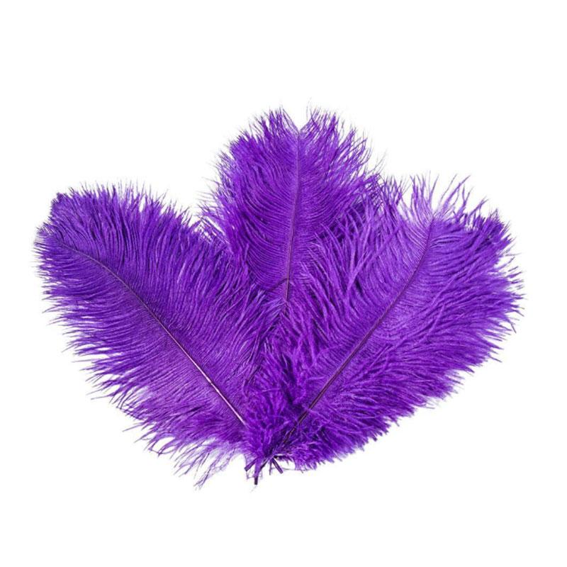 10 шт. перьев из страуса, натуральный центральный, 4 цвета, Рождественский домашний Свадебный декор - Цвет: purple