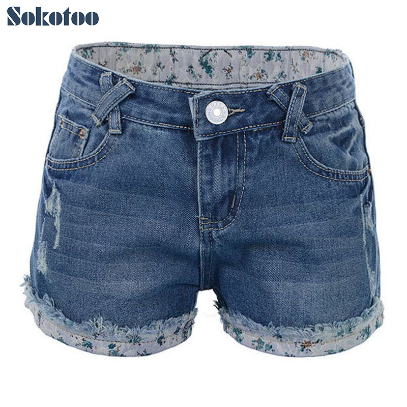 Sokotoo Classic roll up hem distressed denim shorts for women Plus size butt lifting ripped jeans
